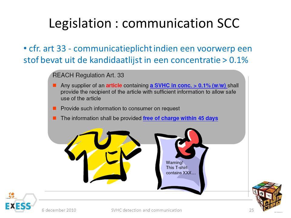 Legislation : communication SCC cfr.
