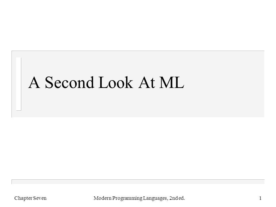 Merge At Work Chapter SevenModern Programming Languages, 2nd ed.32 - fun merge (nil, ys) = ys = | merge (xs, nil) = xs = | merge (x::xs, y::ys) = = if (x < y) then x :: merge(xs, y::ys) = else y :: merge(x::xs, ys); val merge = fn : int list * int list -> int list - merge ([2],[1,3]); val it = [1,2,3] : int list - merge ([1,3,4,7,8],[2,3,5,6,10]); val it = [1,2,3,3,4,5,6,7,8,10] : int list