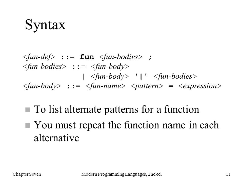 Syntax n To list alternate patterns for a function n You must repeat the function name in each alternative Chapter SevenModern Programming Languages,