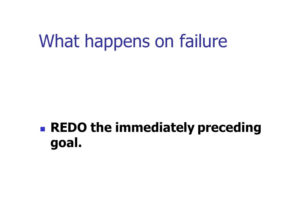 What happens on failure REDO the immediately preceding goal.