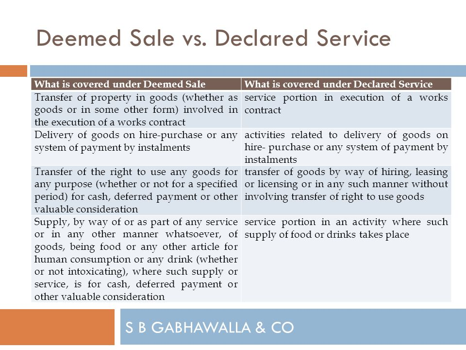 S B GABHAWALLA & CO Deemed Sale vs.