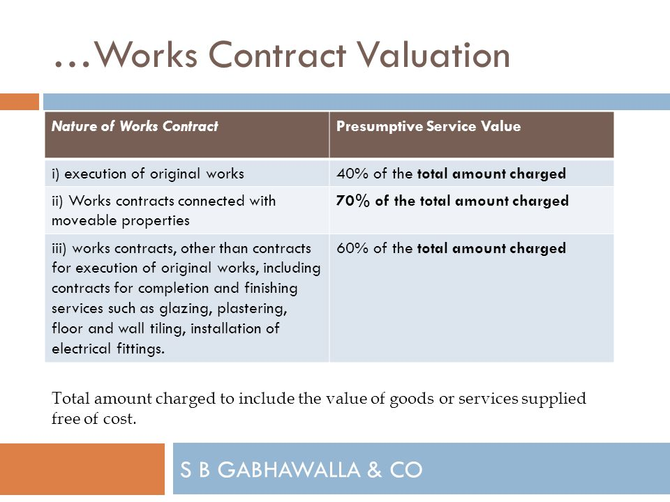 S B GABHAWALLA & CO …Works Contract Valuation Nature of Works ContractPresumptive Service Value i) execution of original works40% of the total amount charged ii) Works contracts connected with moveable properties 70% of the total amount charged iii) works contracts, other than contracts for execution of original works, including contracts for completion and finishing services such as glazing, plastering, floor and wall tiling, installation of electrical fittings.