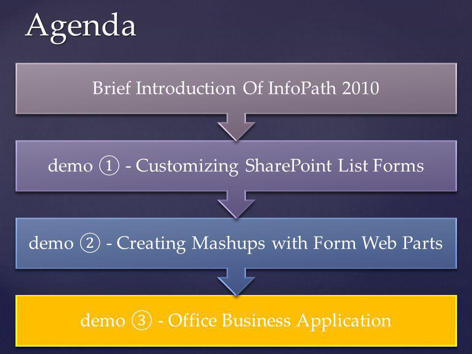 Agenda demo - Office Business Application demo - Creating Mashups with Form Web Parts demo - Customizing SharePoint List Forms Brief Introduction Of I