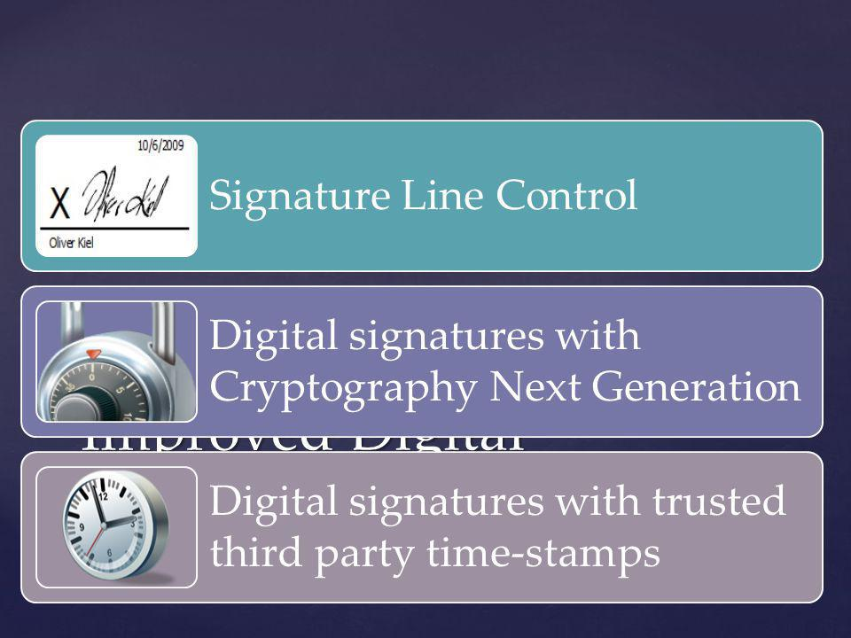 Improved Digital Signatures Signature Line Control Digital signatures with Cryptography Next Generation Digital signatures with trusted third party ti