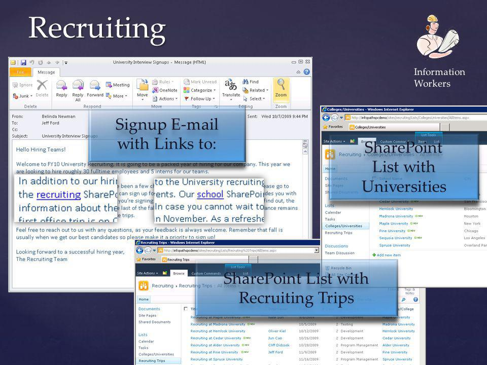 Recruiting Signup E-mail with Links to: Signup E-mail with Links to: SharePoint List with Recruiting Trips SharePoint List with Recruiting Trips Share