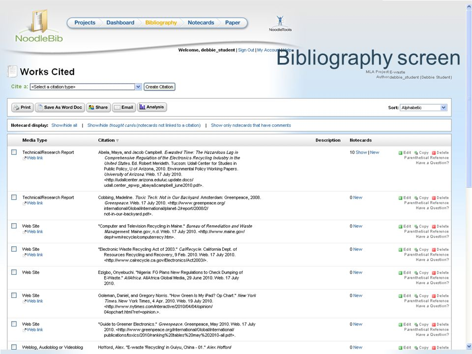 Bibliography screen
