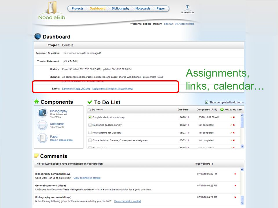 Assignments, links, calendar…