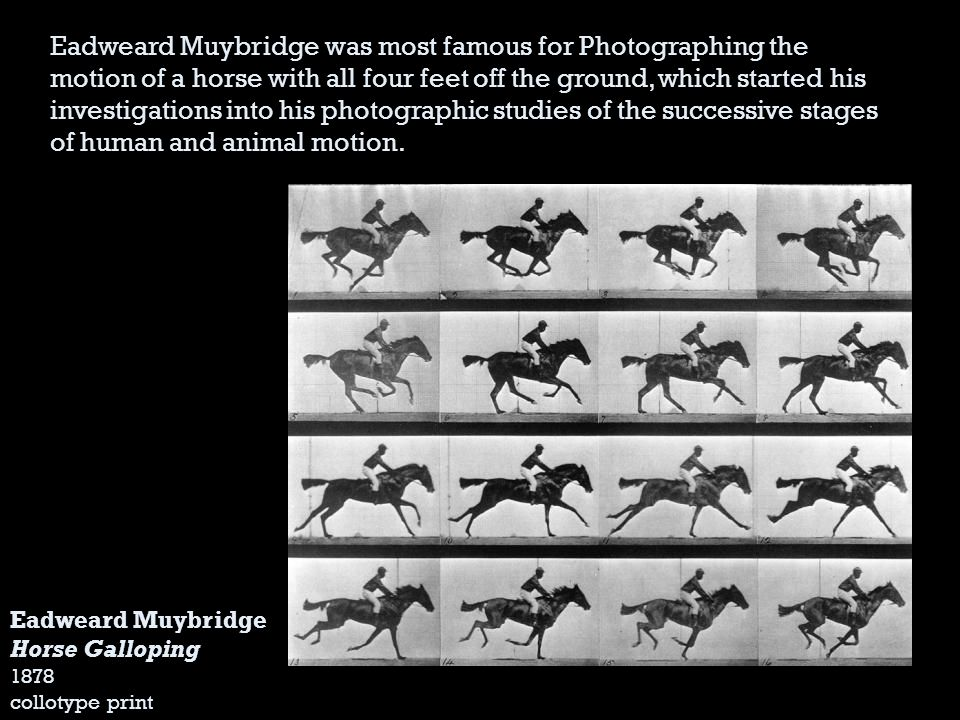 Eadweard Muybridge Horse Galloping 1878 collotype print Eadweard Muybridge was most famous for Photographing the motion of a horse with all four feet