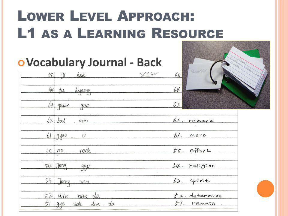 Vocabulary Journal - Back L OWER L EVEL A PPROACH : L1 AS A L EARNING R ESOURCE