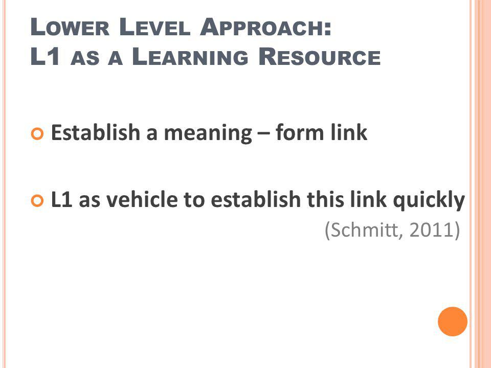 Establish a meaning – form link L1 as vehicle to establish this link quickly (Schmitt, 2011) L OWER L EVEL A PPROACH : L1 AS A L EARNING R ESOURCE
