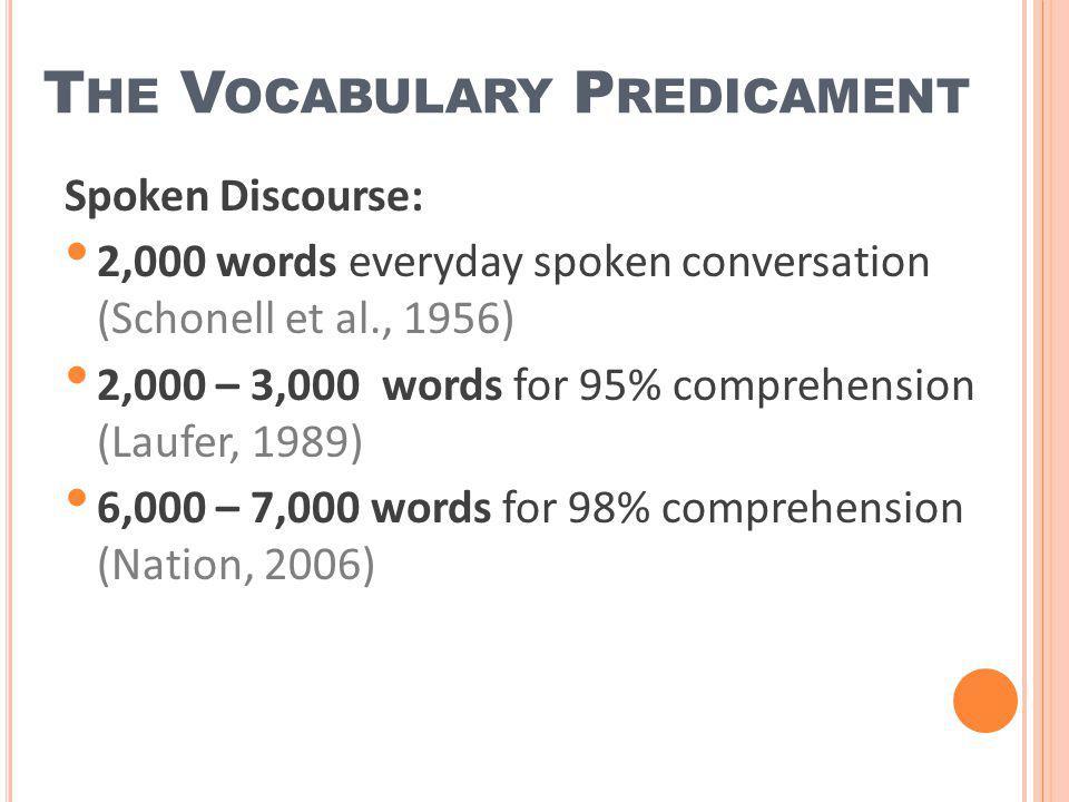 T HE V OCABULARY P REDICAMENT Spoken Discourse: 2,000 words everyday spoken conversation (Schonell et al., 1956) 2,000 – 3,000 words for 95% comprehen