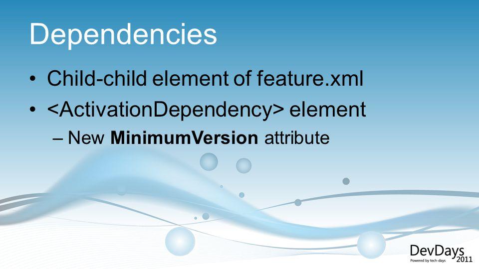 Dependencies Child-child element of feature.xml element –New MinimumVersion attribute
