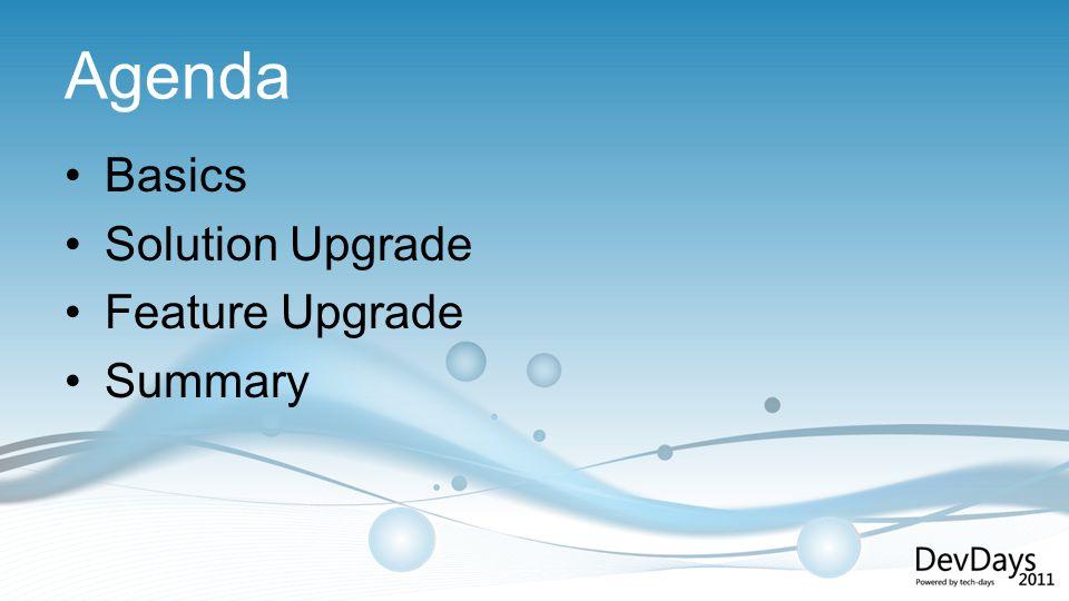 Agenda Basics Solution Upgrade Feature Upgrade Summary
