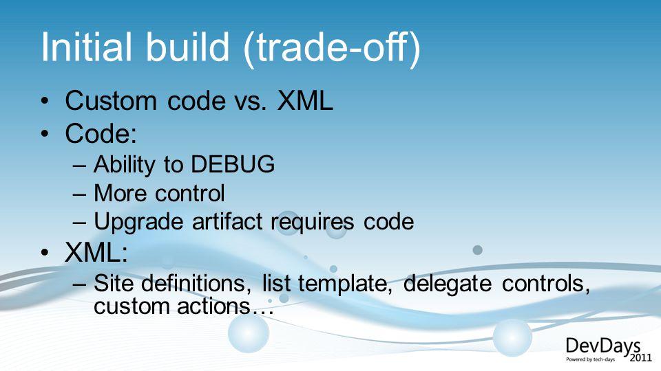 Initial build (trade-off) Custom code vs.