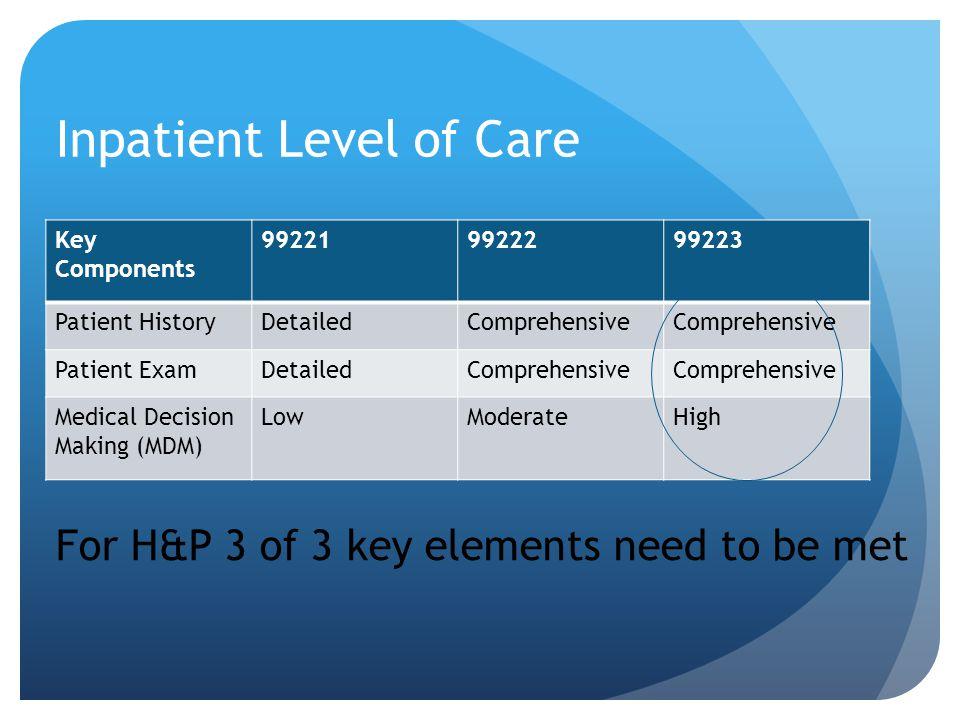 Inpatient Level of Care Key Components 992219922299223 Patient HistoryDetailedComprehensive Patient ExamDetailedComprehensive Medical Decision Making