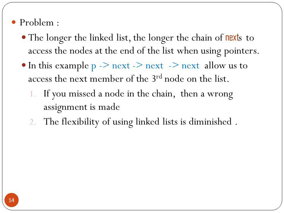 Problem : The longer the linked list, the longer the chain of next s to access the nodes at the end of the list when using pointers.