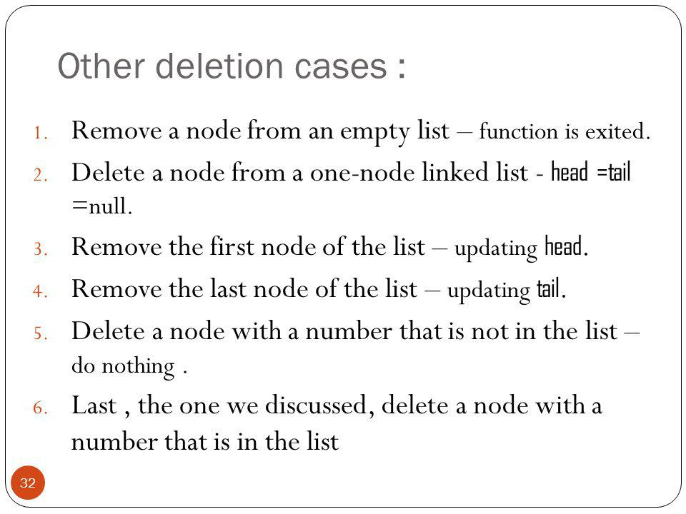 Other deletion cases : 1. Remove a node from an empty list – function is exited.