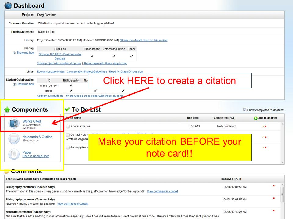 Click HERE to create a citation Make your citation BEFORE your note card!!