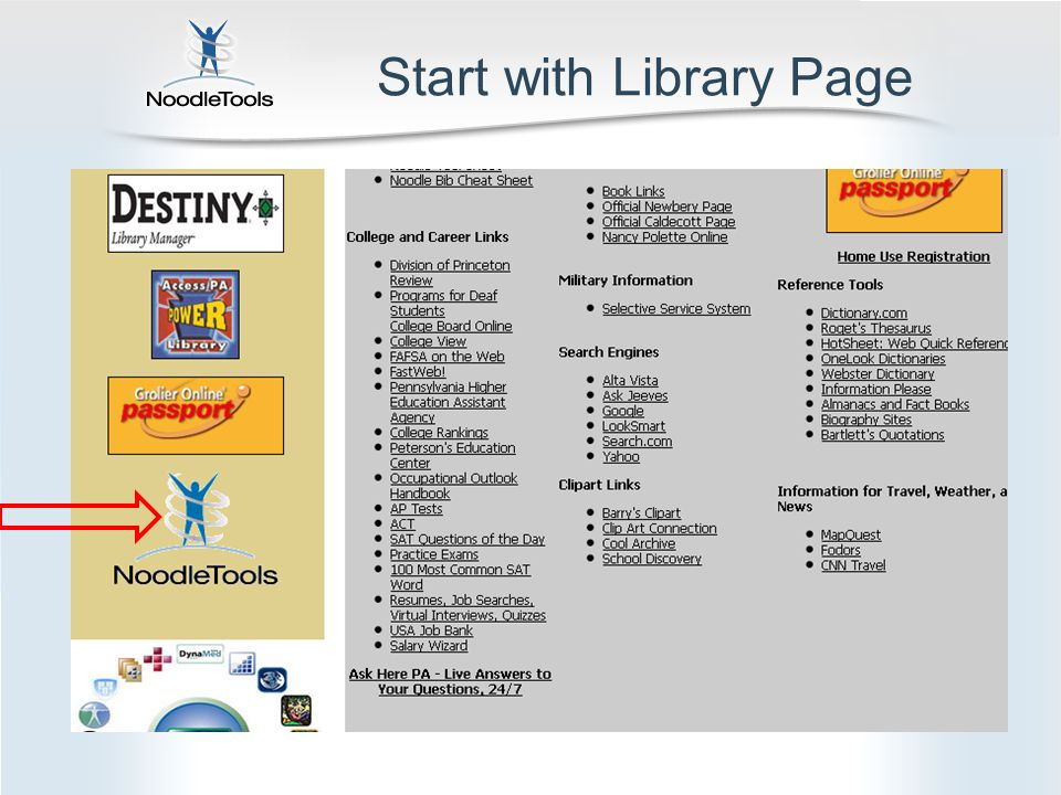 Start with Library Page
