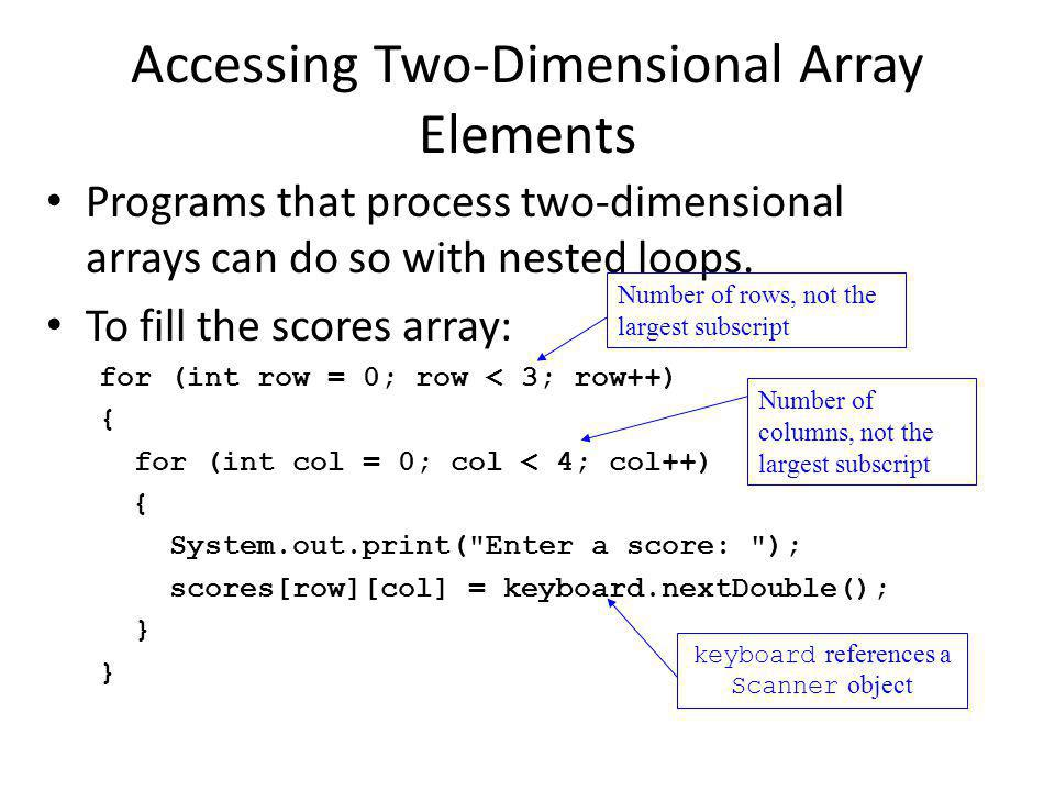Accessing Two-Dimensional Array Elements Programs that process two-dimensional arrays can do so with nested loops.