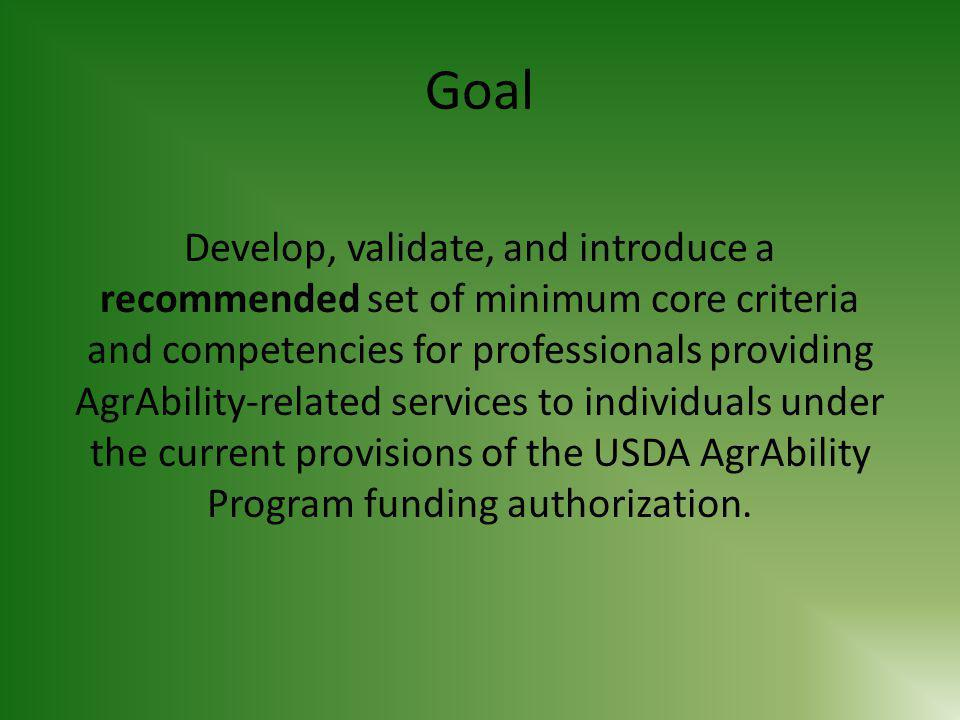 AgrAbility Program-Related Knowledge (continued) 3.Explain the scope and limitations of services 4.Describe the prevalence of the key forms of disability within the agricultural community 5.List the primary sources of AgrAbility-related information and resources and demonstrate how to access them