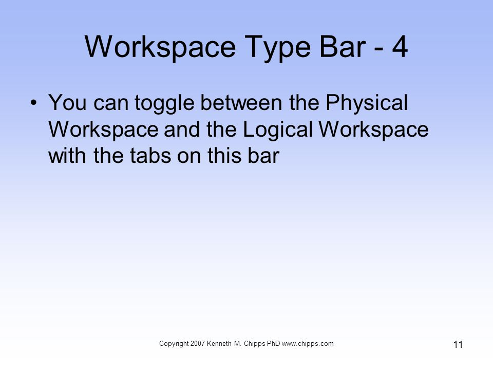 Workspace Type Bar - 4 You can toggle between the Physical Workspace and the Logical Workspace with the tabs on this bar Copyright 2007 Kenneth M. Chi