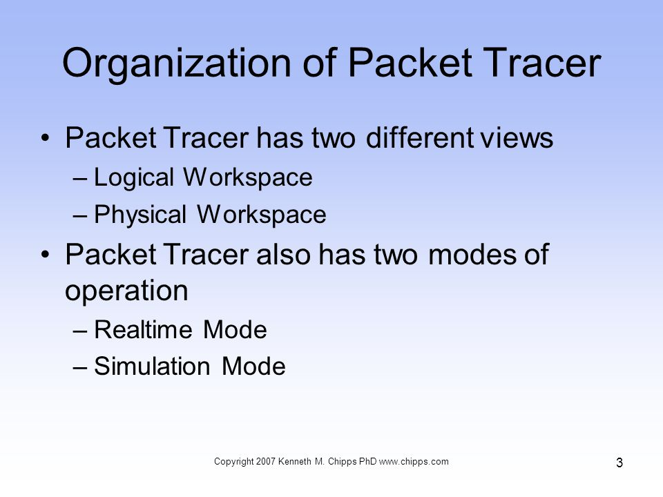 Organization of Packet Tracer Packet Tracer has two different views –Logical Workspace –Physical Workspace Packet Tracer also has two modes of operation –Realtime Mode –Simulation Mode Copyright 2007 Kenneth M.