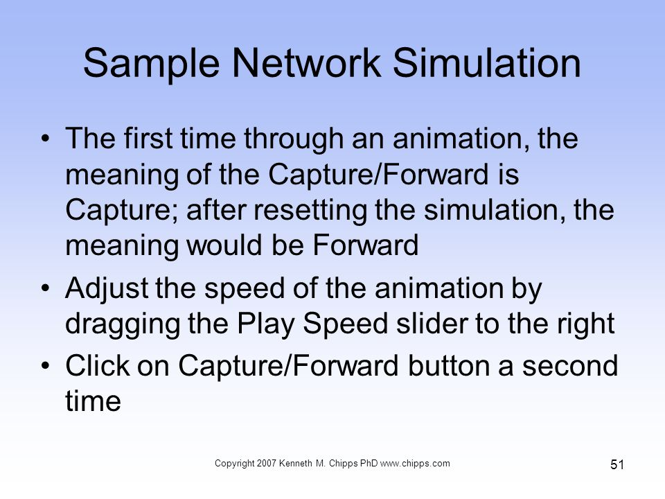Sample Network Simulation The first time through an animation, the meaning of the Capture/Forward is Capture; after resetting the simulation, the mean