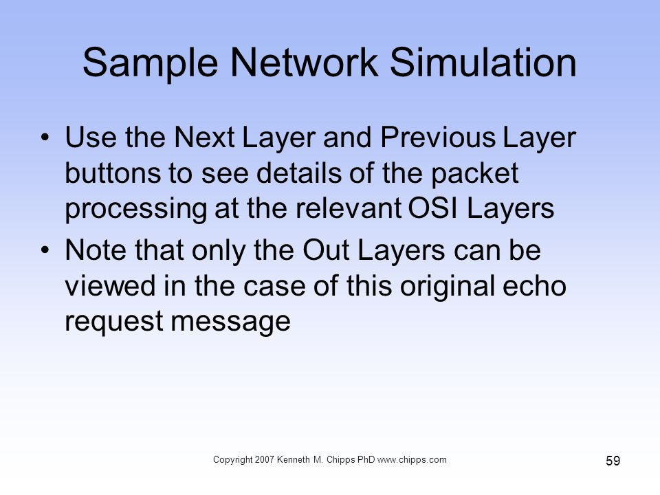 Sample Network Simulation Use the Next Layer and Previous Layer buttons to see details of the packet processing at the relevant OSI Layers Note that only the Out Layers can be viewed in the case of this original echo request message Copyright 2007 Kenneth M.