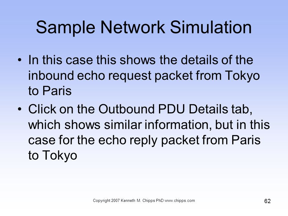 Sample Network Simulation In this case this shows the details of the inbound echo request packet from Tokyo to Paris Click on the Outbound PDU Details tab, which shows similar information, but in this case for the echo reply packet from Paris to Tokyo Copyright 2007 Kenneth M.