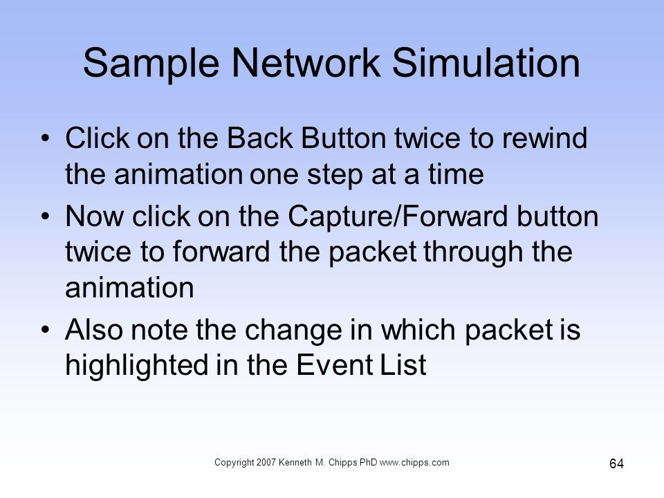 Sample Network Simulation Click on the Back Button twice to rewind the animation one step at a time Now click on the Capture/Forward button twice to f