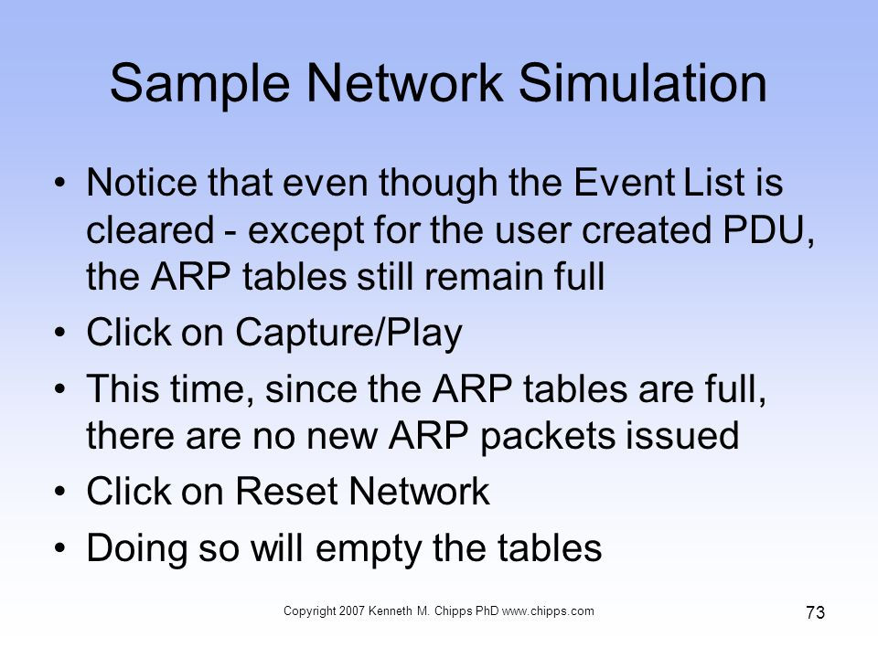 Sample Network Simulation Notice that even though the Event List is cleared - except for the user created PDU, the ARP tables still remain full Click on Capture/Play This time, since the ARP tables are full, there are no new ARP packets issued Click on Reset Network Doing so will empty the tables Copyright 2007 Kenneth M.
