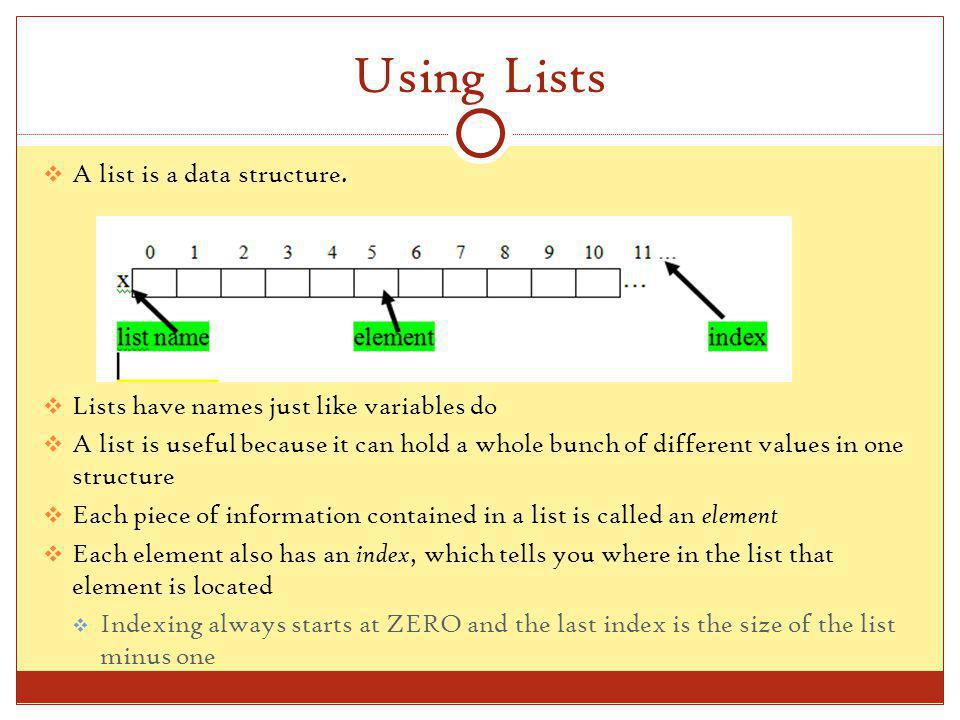 Using Lists A list is a data structure.