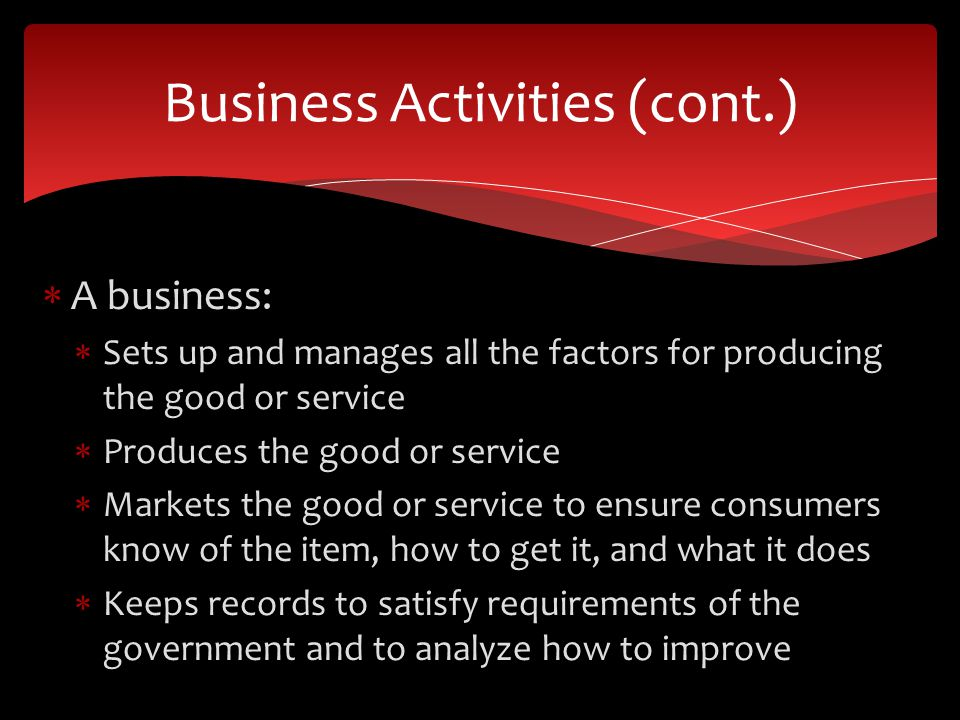 A business: Sets up and manages all the factors for producing the good or service Produces the good or service Markets the good or service to ensure consumers know of the item, how to get it, and what it does Keeps records to satisfy requirements of the government and to analyze how to improve Business Activities (cont.)