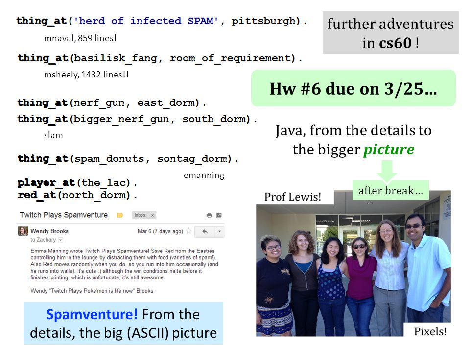 Hw #6 due on 3/25… Java, from the details to the bigger picture Spamventure! From the details, the big (ASCII) picture after break… emanning msheely,
