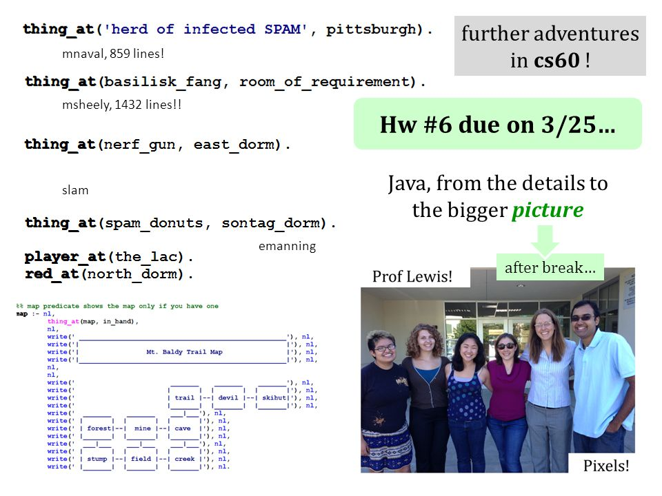 Hw #6 due on 3/25… Java, from the details to the bigger picture after break… emanning msheely, 1432 lines!.