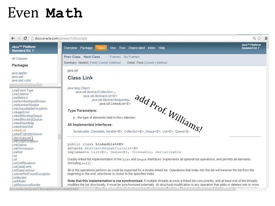 Even Math add Prof. Williams!