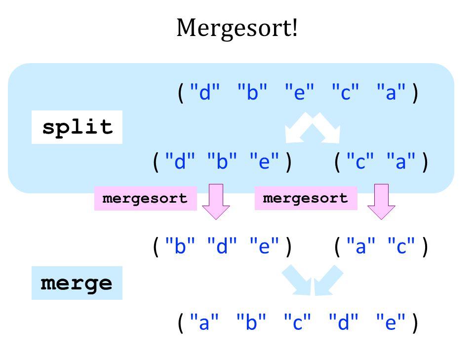 Mergesort! split merge (