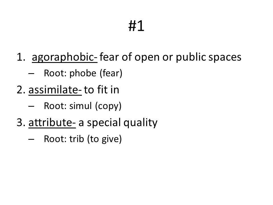 #1 1.agoraphobic- fear of open or public spaces – Root: phobe (fear) 2. assimilate- to fit in – Root: simul (copy) 3. attribute- a special quality – R