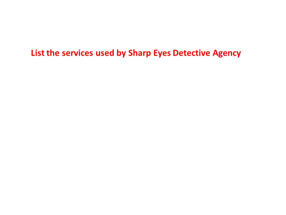List the services used by Sharp Eyes Detective Agency