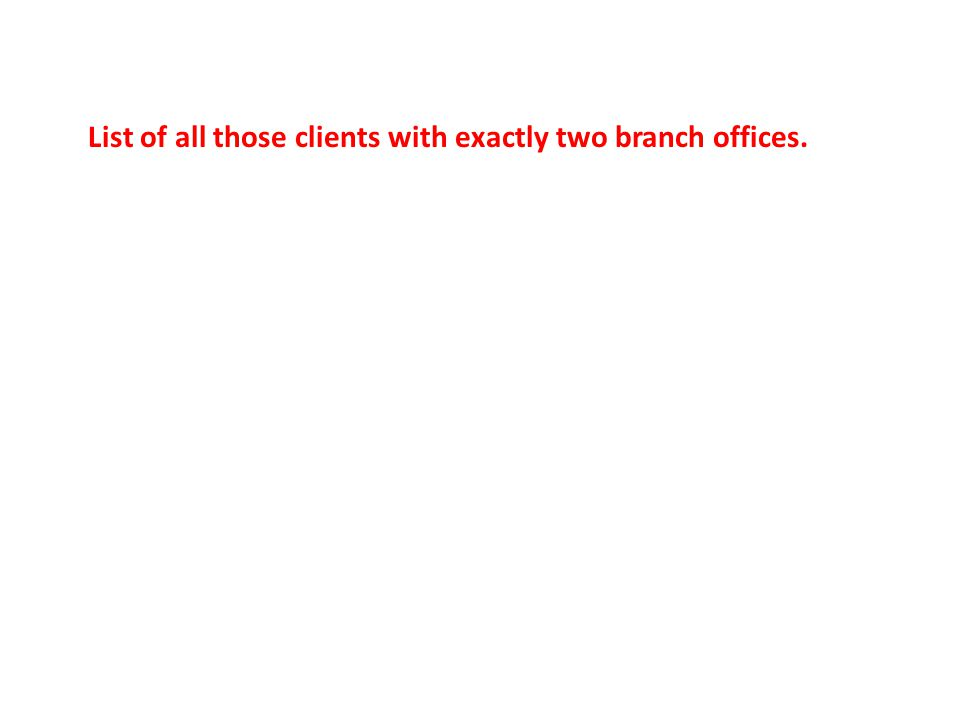 List of all those clients with exactly two branch offices.