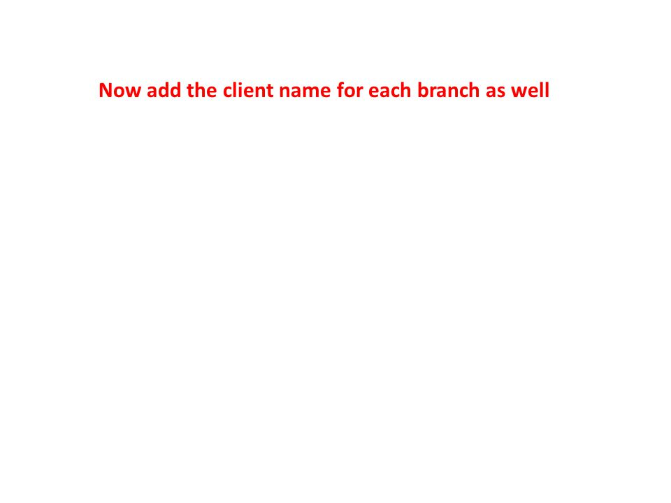 Now add the client name for each branch as well