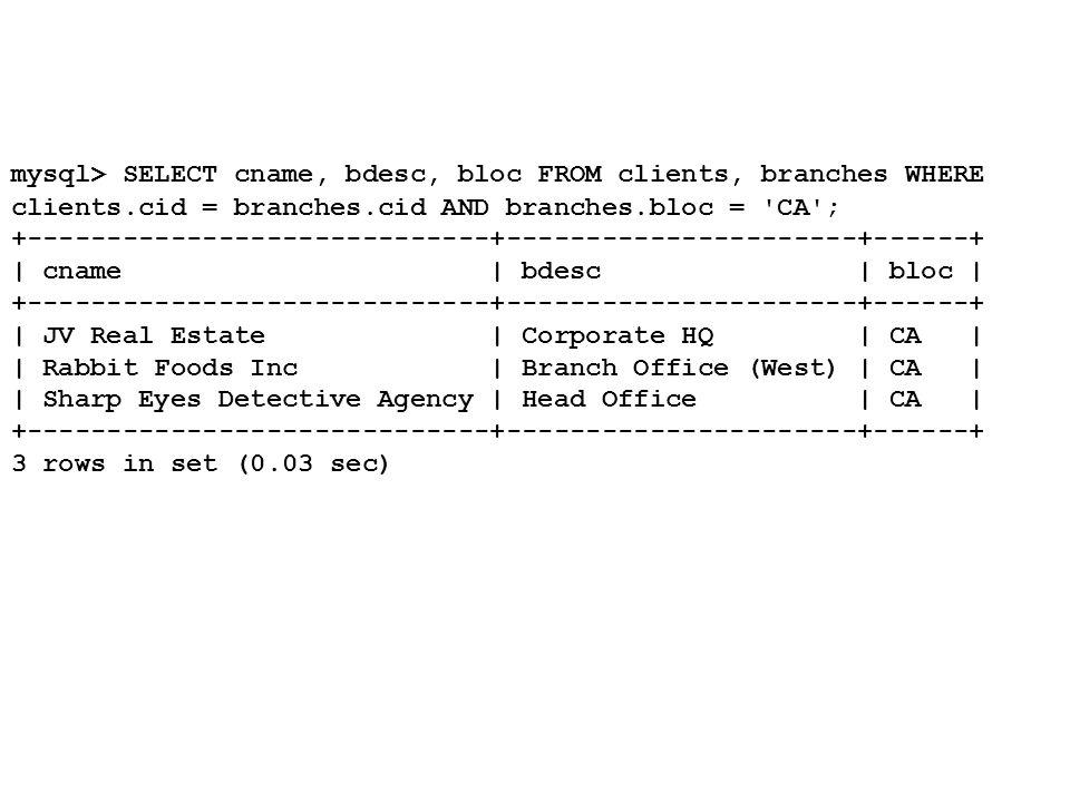 mysql> SELECT DISTINCT cname FROM branches, clients WHERE branches.bid IN (SELECT bid FROM branches_services WHERE sid = 1) AND clients.cid = branches.cid; +-----------------------------+ | cname | +-----------------------------+ | JV Real Estate | | Rabbit Foods Inc | | Sharp Eyes Detective Agency | +-----------------------------+ 3 rows in set (0.00 sec)
