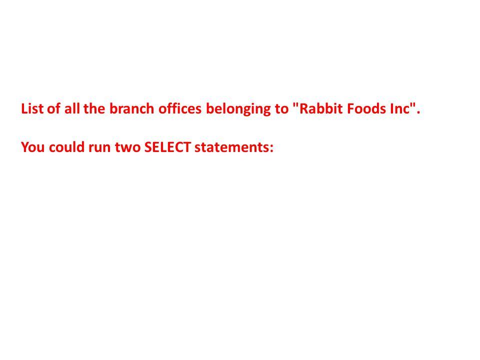 mysql> SELECT cid FROM clients WHERE cname = Rabbit Foods Inc ; +-----+ | cid | +-----+ | 104 | +-----+ 1 row in set (0.00 sec) mysql> SELECT bdesc FROM branches WHERE cid = 104; +----------------------+ | bdesc | +----------------------+ | Branch Office (East) | | Branch Office (West) | +----------------------+ 2 rows in set (0.00 sec) AND