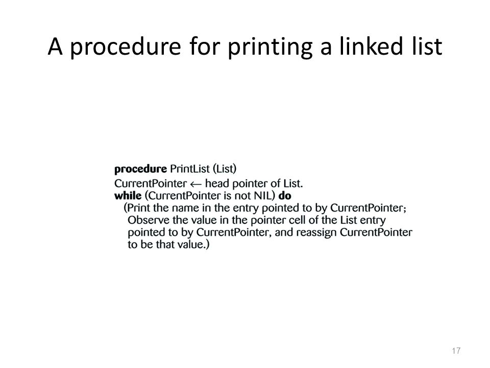 17 A procedure for printing a linked list