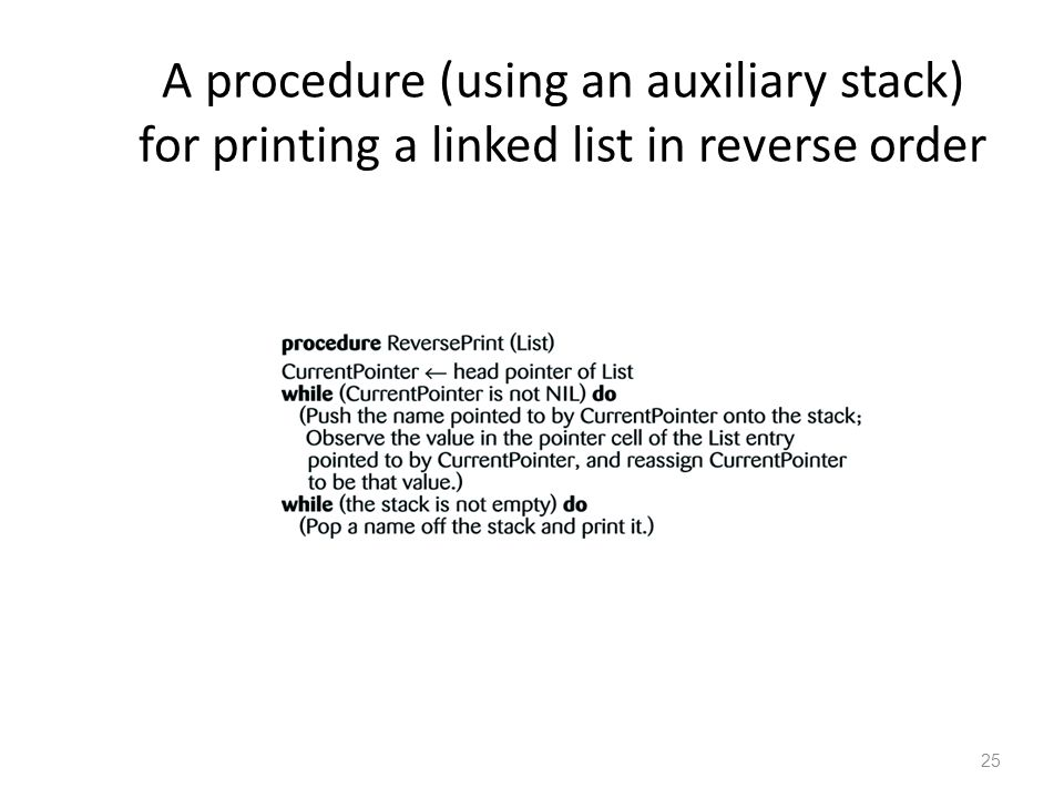 25 A procedure (using an auxiliary stack) for printing a linked list in reverse order