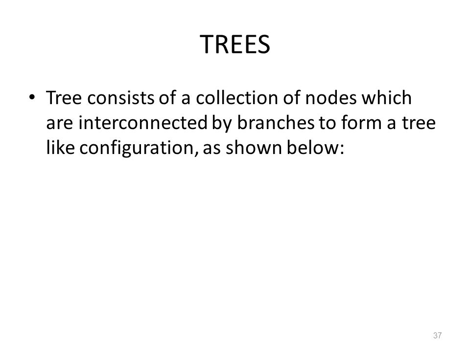 TREES Tree consists of a collection of nodes which are interconnected by branches to form a tree like configuration, as shown below: 37