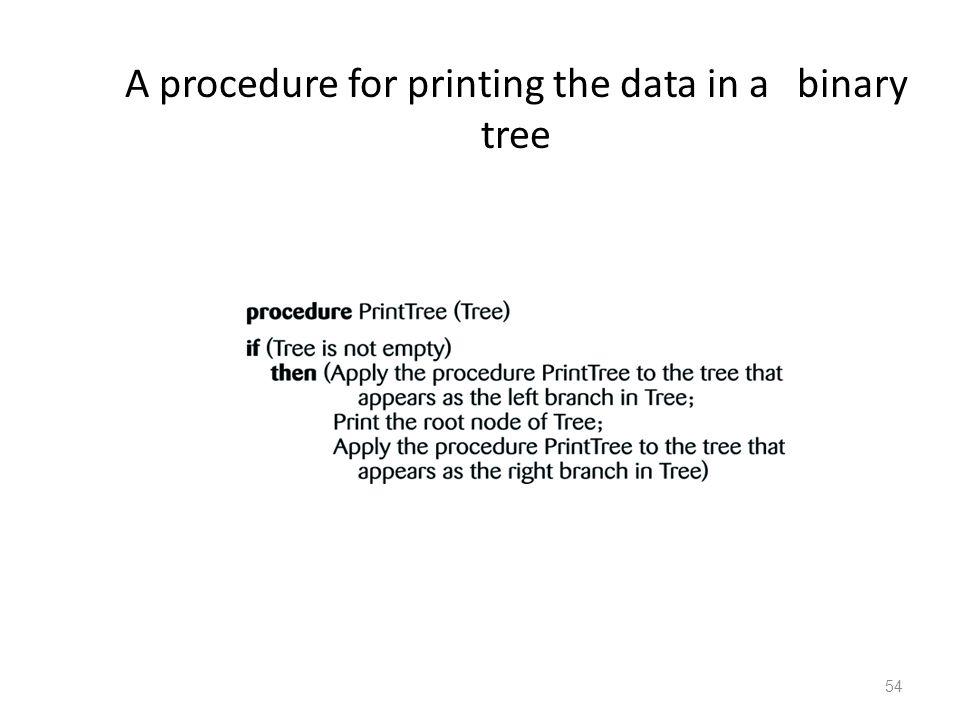 54 A procedure for printing the data in a binary tree
