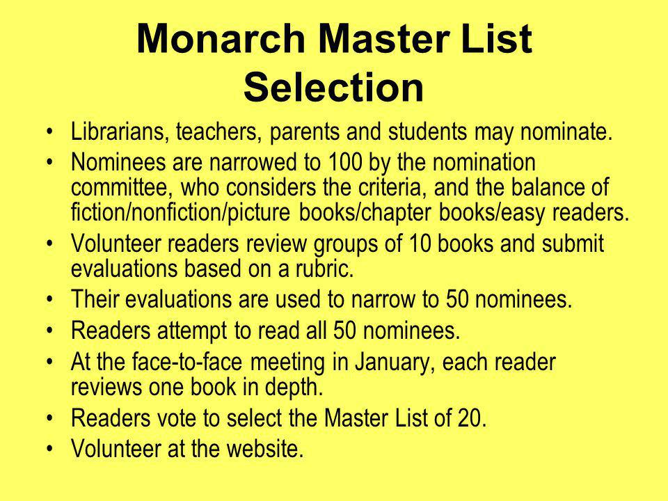 Monarch Master List Selection Librarians, teachers, parents and students may nominate.