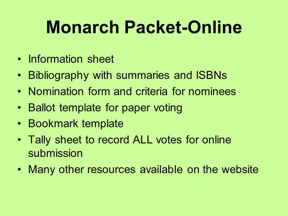Monarch Dates March 12 & 20: Winner announced NIU and IRC March, 2010: Website updated for 2011 resources March, 2010: 2011 Registration brochure mailed August 15, 2010: Online 2011 packet available and mailing of sticker and voting information 2010–2011: Read the 2012 Nominees September 15, 2010: 2012 Nominations close January 15, 2011: Official end of 2011 registration February, 2011: 2012 Master List announced February, 2011: Vote online by the 28th